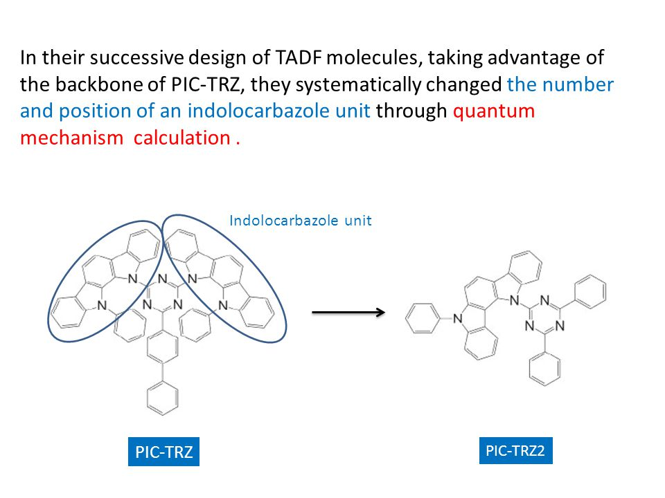 In their successive design of TADF molecules, taking advantage of the backbone of PIC-TRZ, they systematically changed the number and position of an indolocarbazole unit through quantum mechanism calculation .