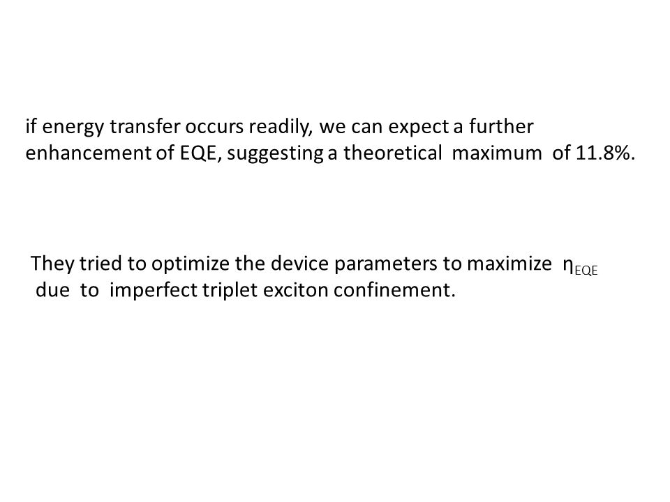 if energy transfer occurs readily, we can expect a further enhancement of EQE, suggesting a theoretical maximum of 11.8%.