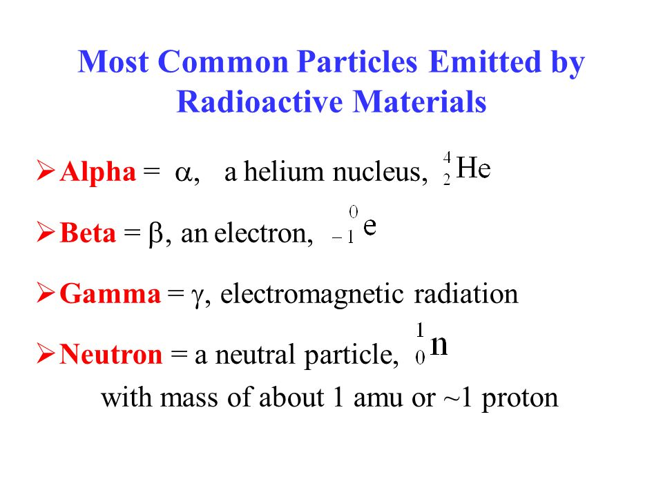 Most Common Particles Emitted by Radioactive Materials