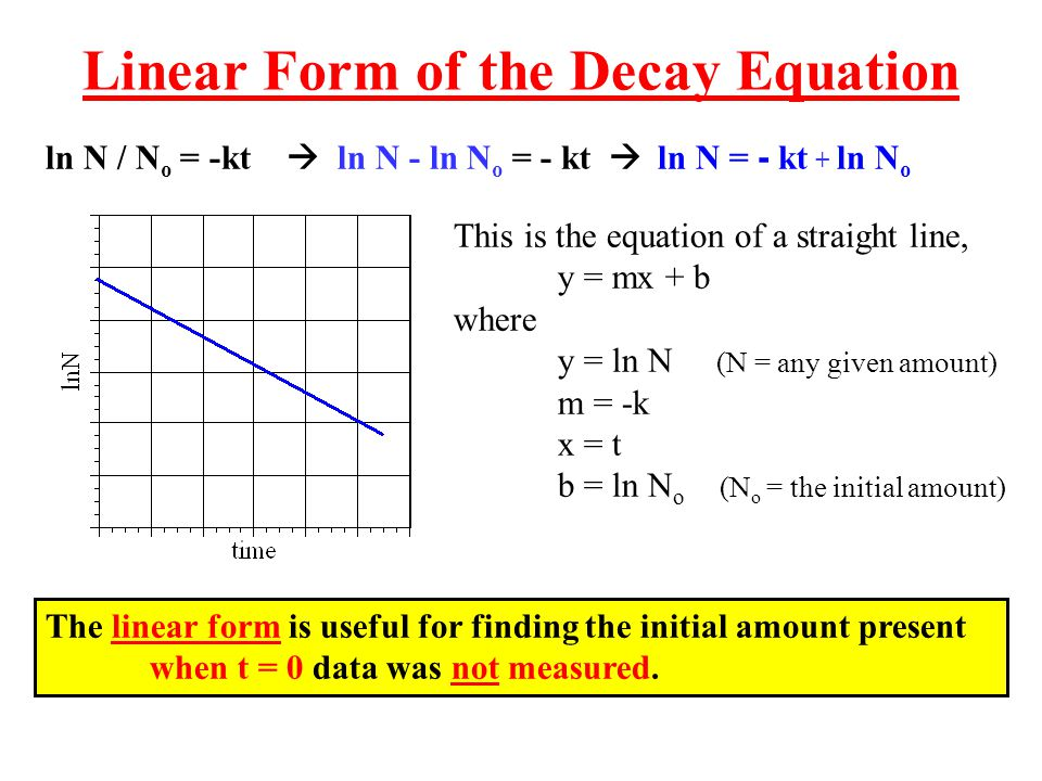 Linear Form of the Decay Equation