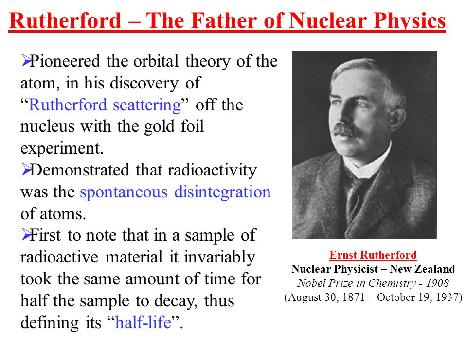 Rutherford – The Father of Nuclear Physics