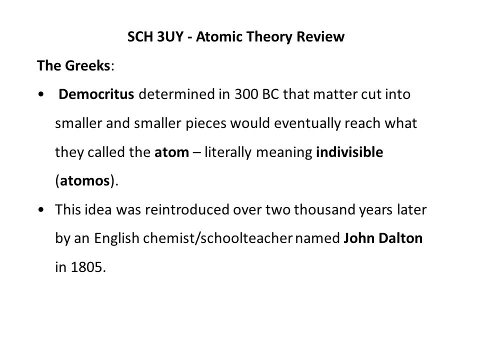 SCH 3UY - Atomic Theory Review