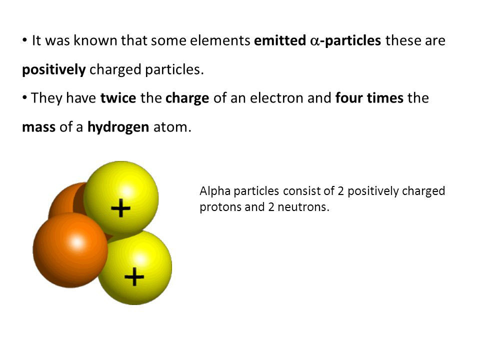 It was known that some elements emitted -particles these are positively charged particles.