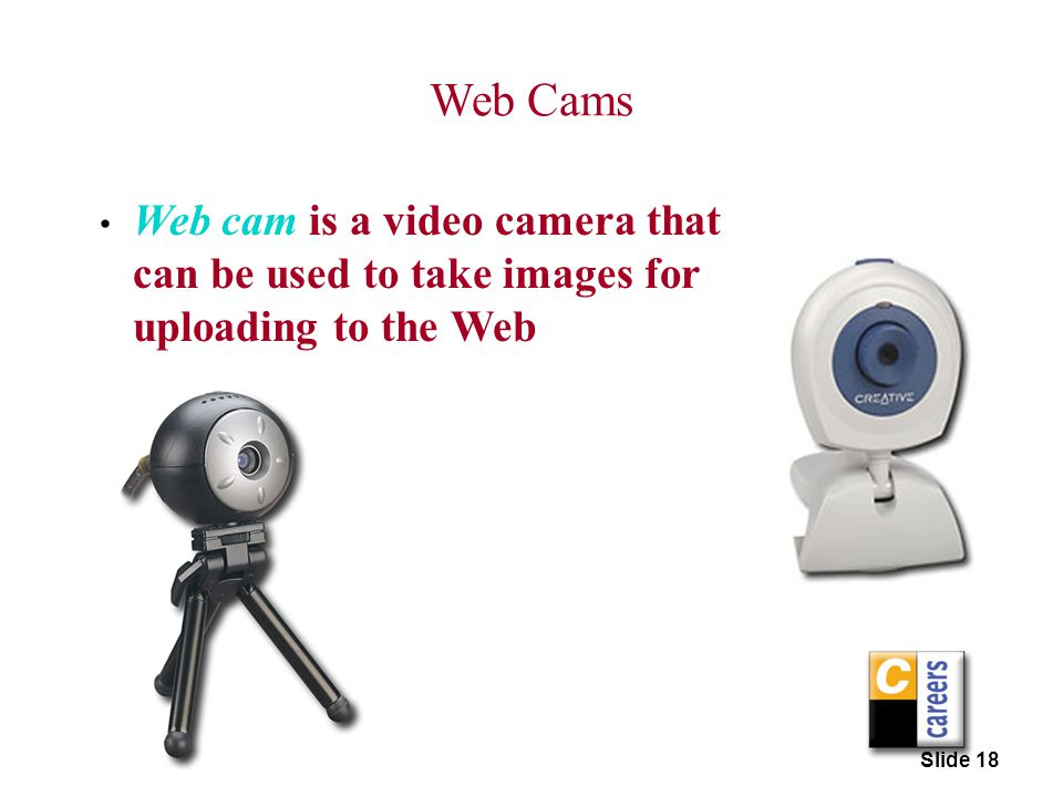 Web Cams Web cam is a video camera that can be used to take images for uploading to the Web