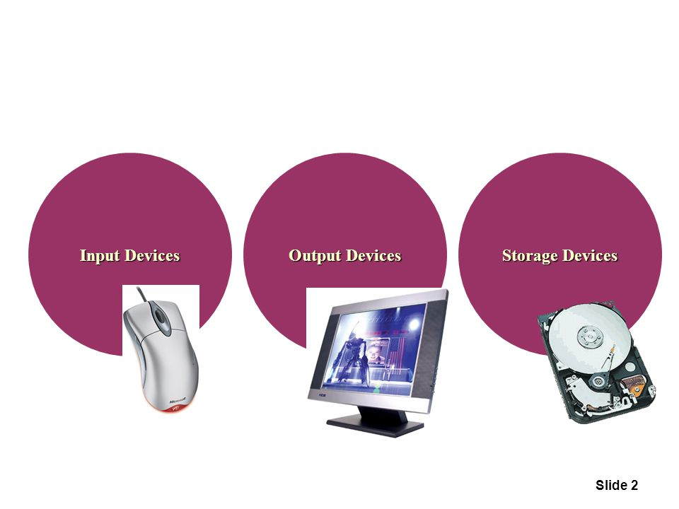 Input Devices Output Devices Storage Devices