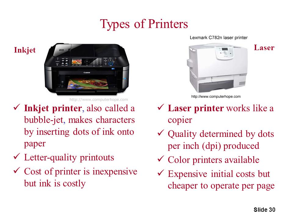 Types of Printers Laser. Inkjet. Inkjet printer, also called a bubble-jet, makes characters by inserting dots of ink onto paper.