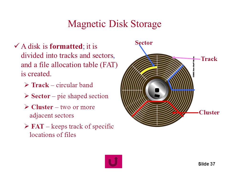 Magnetic Disk Storage Sector. A disk is formatted; it is divided into tracks and sectors, and a file allocation table (FAT) is created.