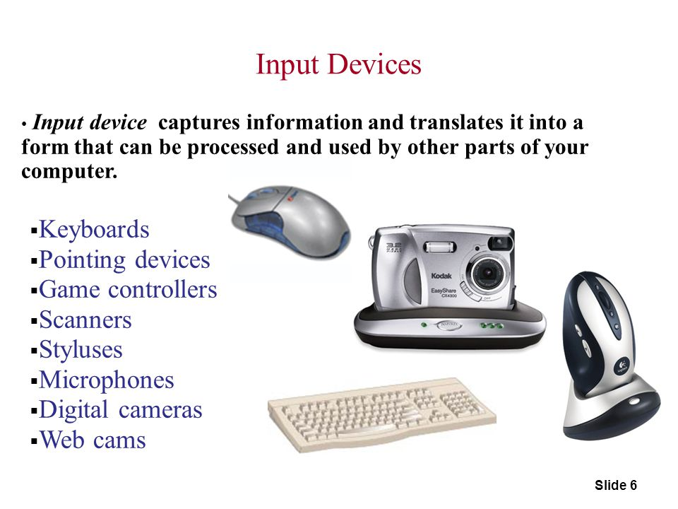 Input Devices Keyboards Pointing devices Game controllers Scanners