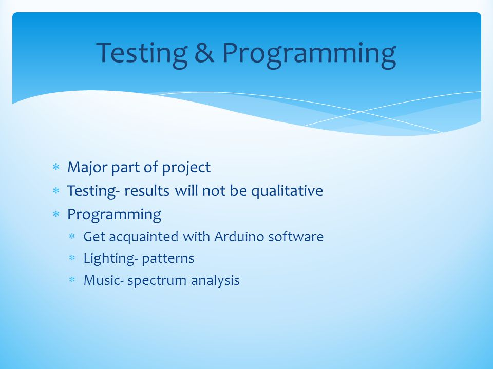 Testing & Programming Major part of project