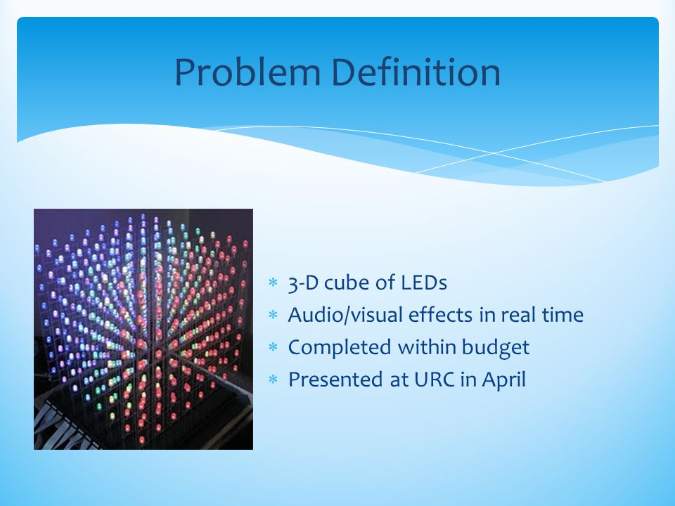 Problem Definition 3-D cube of LEDs Audio/visual effects in real time
