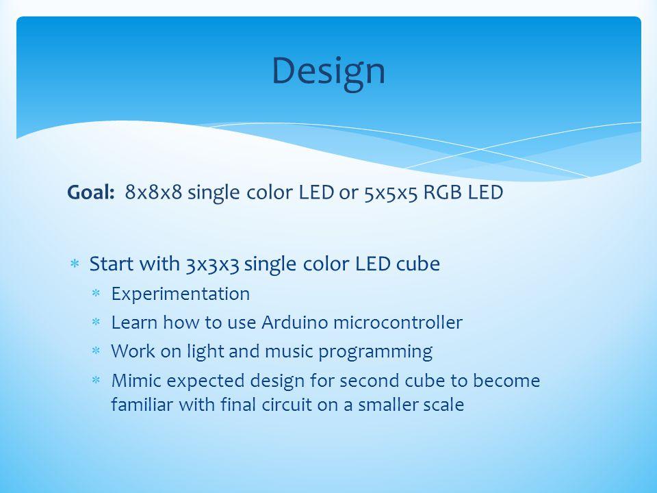Design Goal: 8x8x8 single color LED or 5x5x5 RGB LED