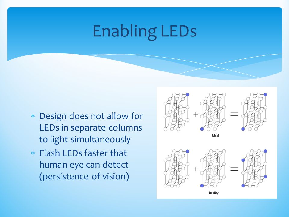 Enabling LEDs Design does not allow for LEDs in separate columns to light simultaneously.