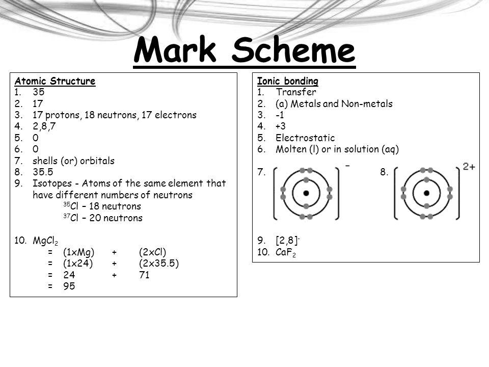 Mark Scheme Atomic Structure 35 17