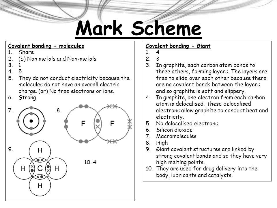 Mark Scheme Covalent bonding - molecules Share
