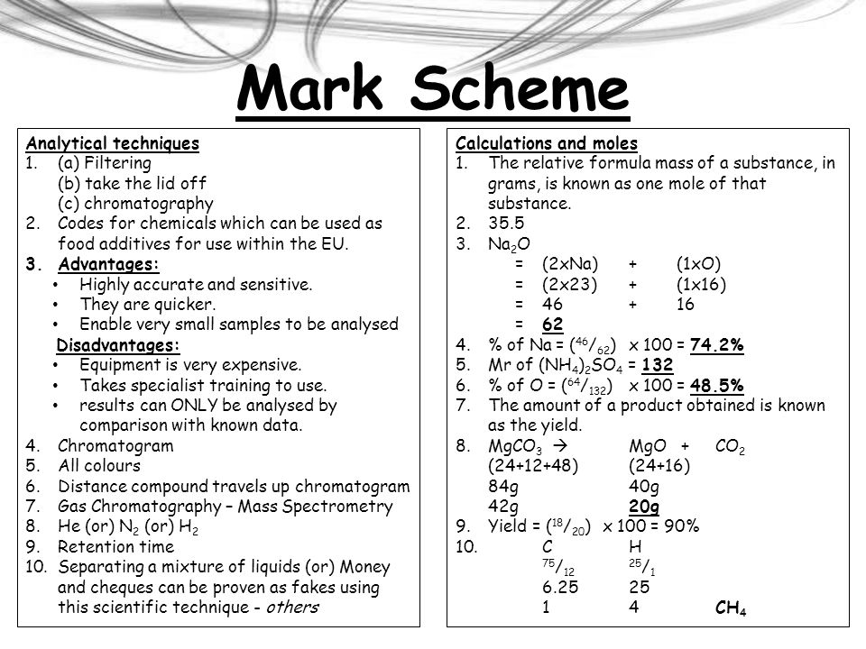 Mark Scheme Analytical techniques (a) Filtering (b) take the lid off