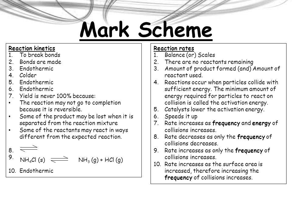 Mark Scheme Reaction kinetics To break bonds Bonds are made