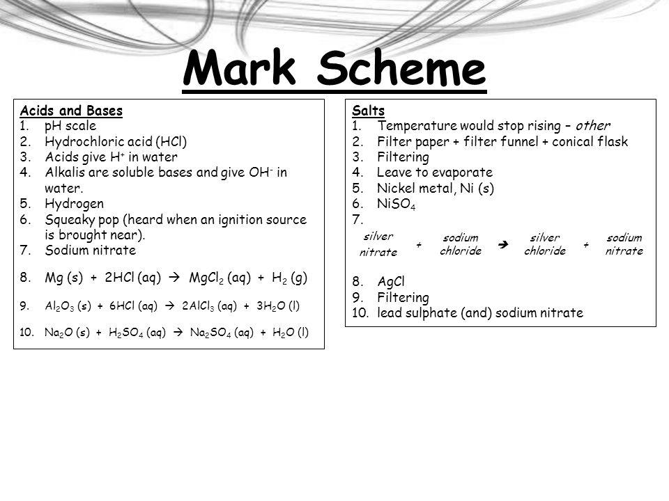 Mark Scheme Acids and Bases pH scale Hydrochloric acid (HCl)