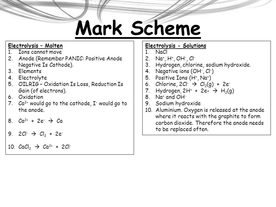 Mark Scheme Electrolysis – Molten Ions cannot move