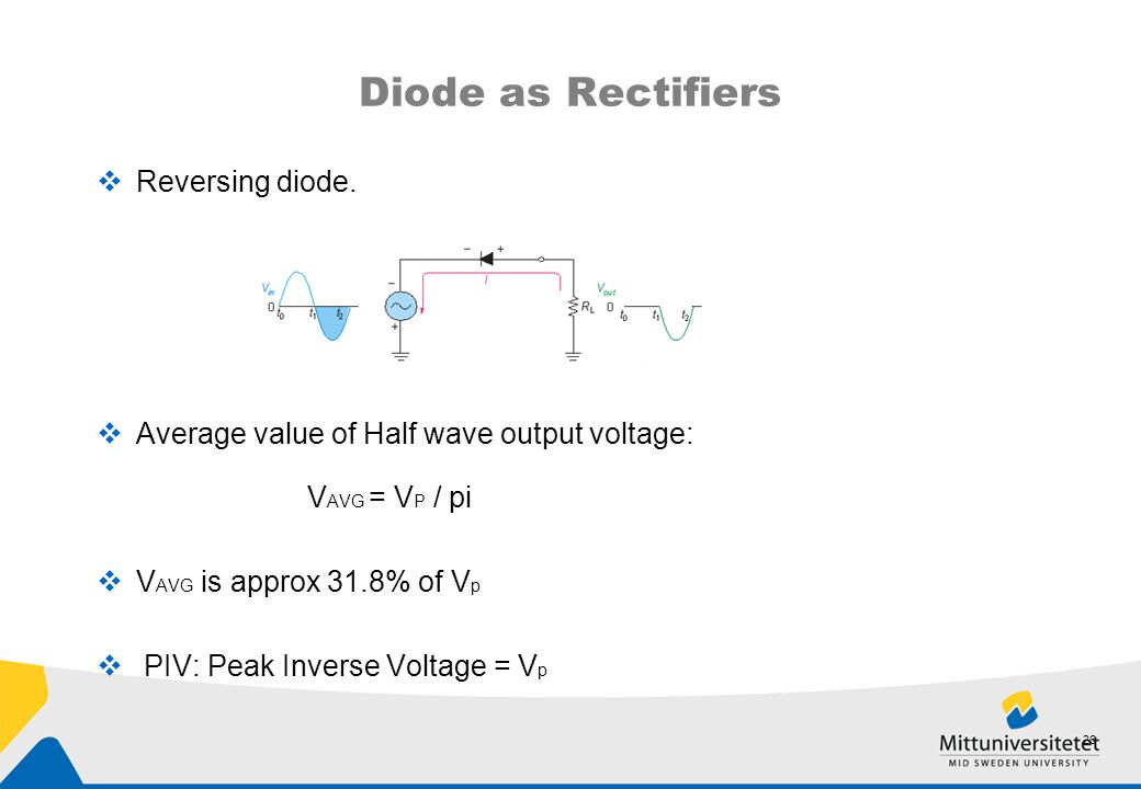 Diode as Rectifiers Reversing diode.
