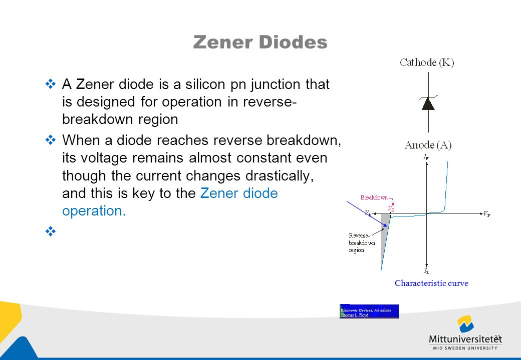 Zener Diodes A Zener diode is a silicon pn junction that is designed for operation in reverse-breakdown region.