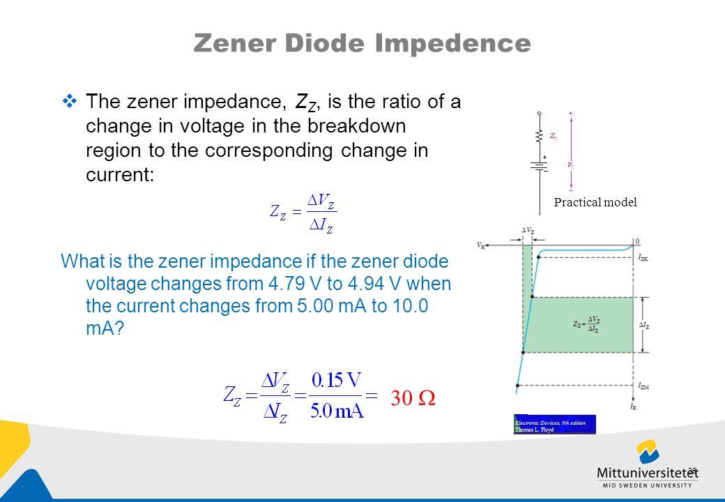 Zener Diode Impedence 30 W
