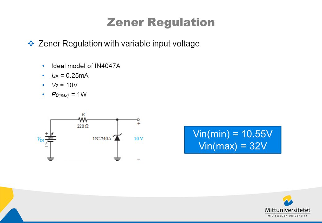 Zener Regulation Vin(min) = 10.55V Vin(max) = 32V