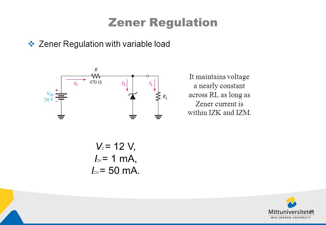 Zener Regulation VZ = 12 V, IZK = 1 mA, IZM = 50 mA.