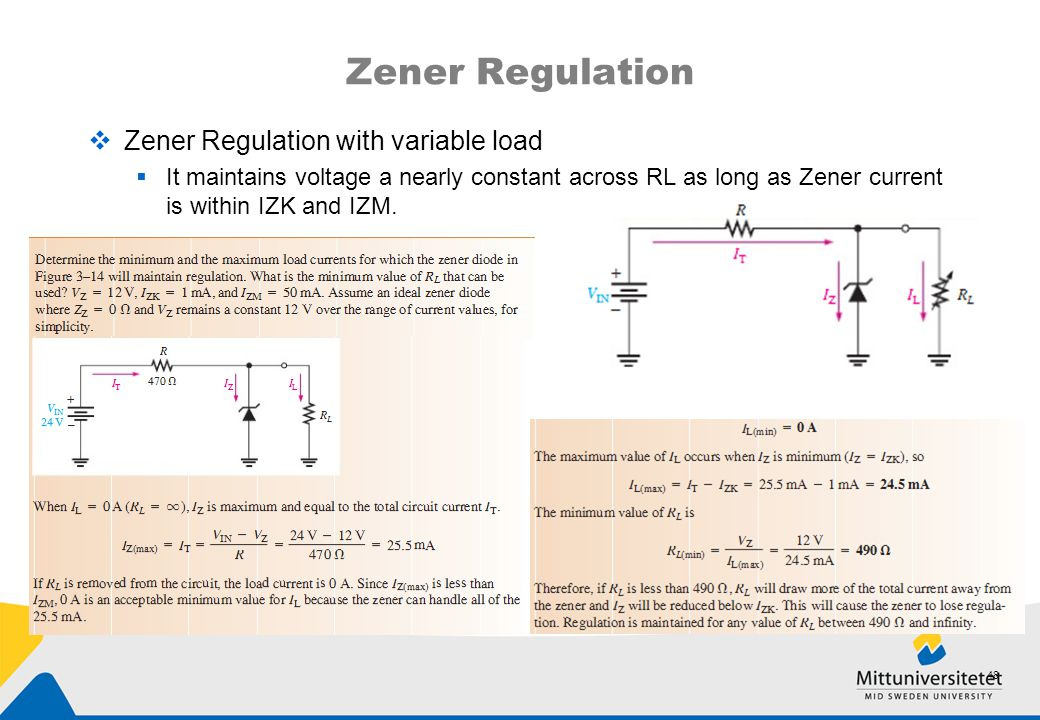 Zener Regulation Zener Regulation with variable load
