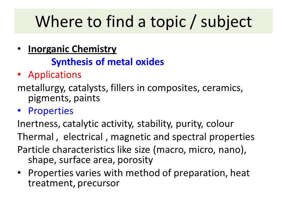 Where to find a topic / subject
