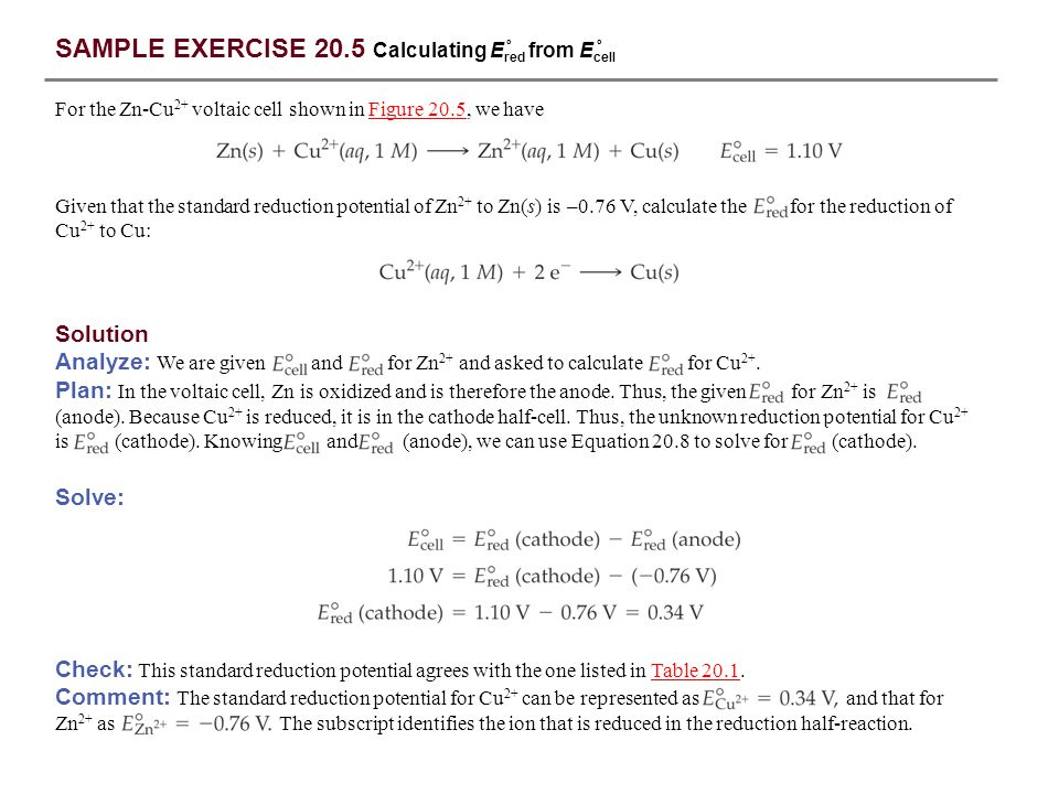 SAMPLE EXERCISE 20.5 Calculating Ered from Ecell