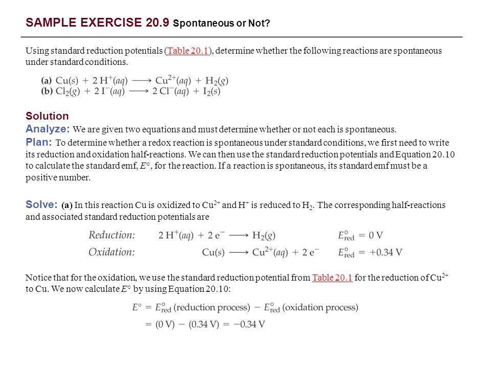 SAMPLE EXERCISE 20.9 Spontaneous or Not