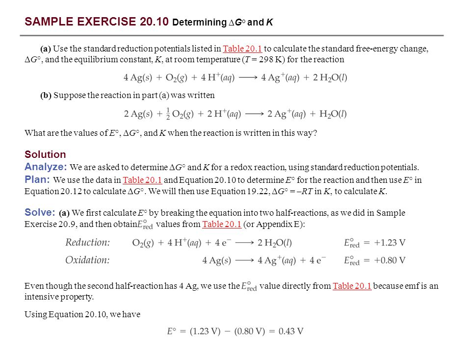 SAMPLE EXERCISE 20.10 Determining G° and K