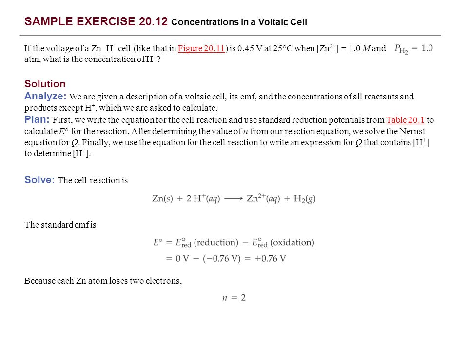 SAMPLE EXERCISE 20.12 Concentrations in a Voltaic Cell
