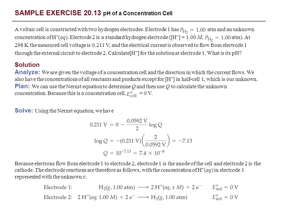SAMPLE EXERCISE 20.13 pH of a Concentration Cell