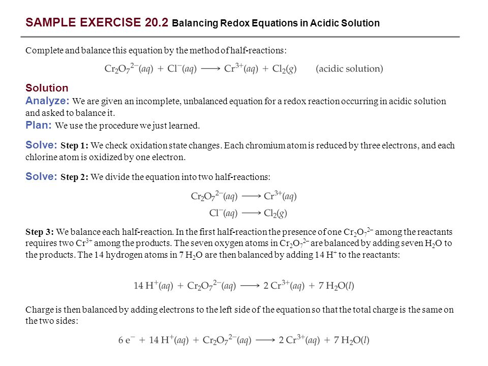 SAMPLE EXERCISE 20.2 Balancing Redox Equations in Acidic Solution