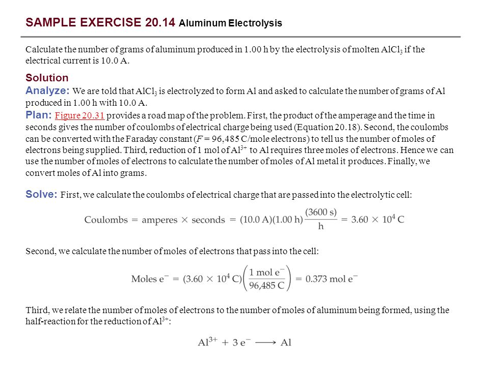 SAMPLE EXERCISE 20.14 Aluminum Electrolysis