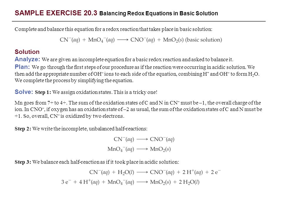 SAMPLE EXERCISE 20.3 Balancing Redox Equations in Basic Solution