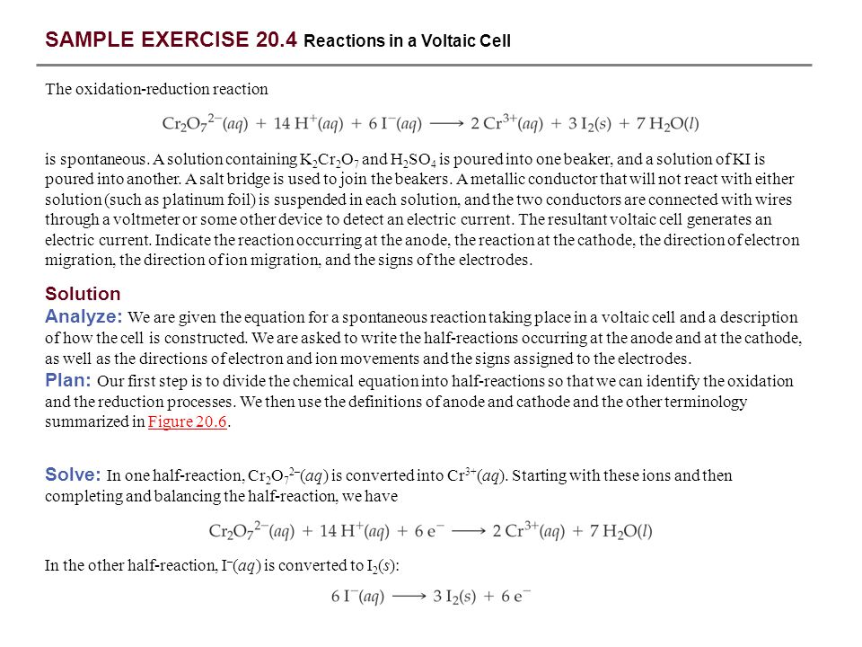 SAMPLE EXERCISE 20.4 Reactions in a Voltaic Cell
