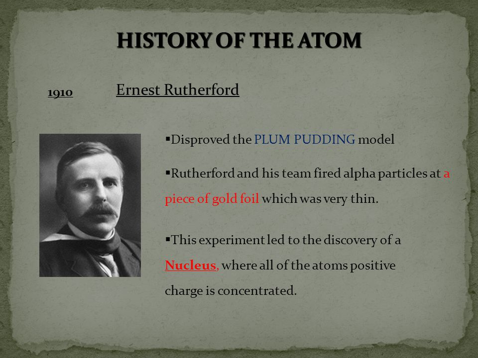 HISTORY OF THE ATOM Ernest Rutherford 1910