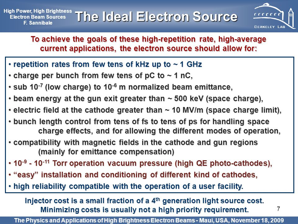 The Ideal Electron Source High Power, High Brightness