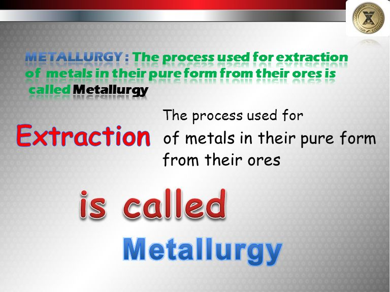 is called Metallurgy Extraction of metals in their pure form