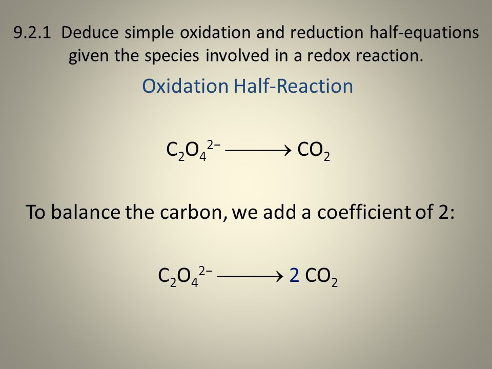 Oxidation Half-Reaction