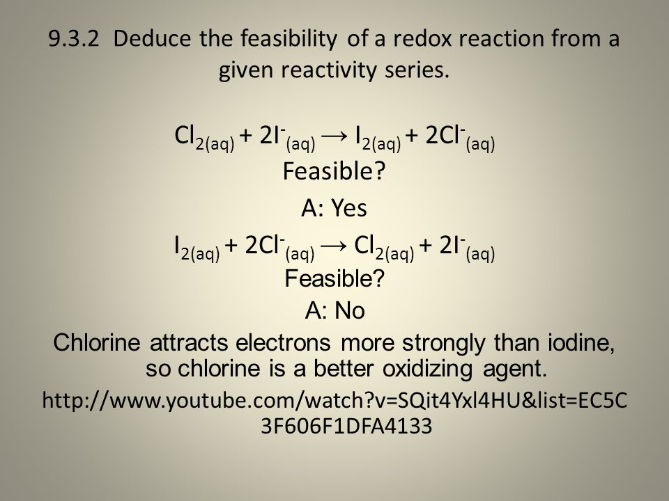 Cl2(aq) + 2I-(aq) → I2(aq) + 2Cl-(aq) Feasible A: Yes