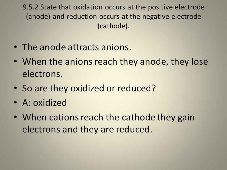 The anode attracts anions.