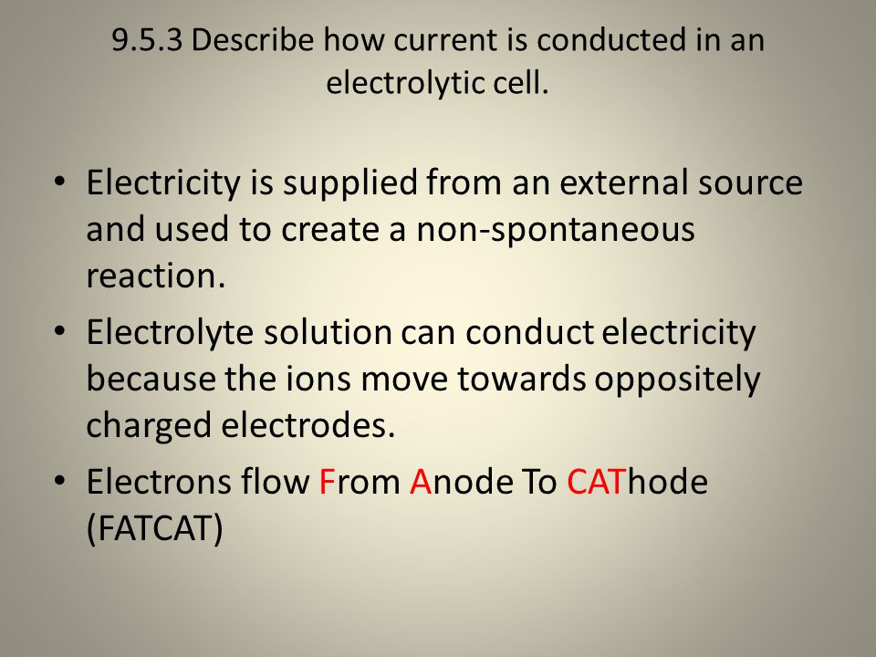 9.5.3 Describe how current is conducted in an electrolytic cell.