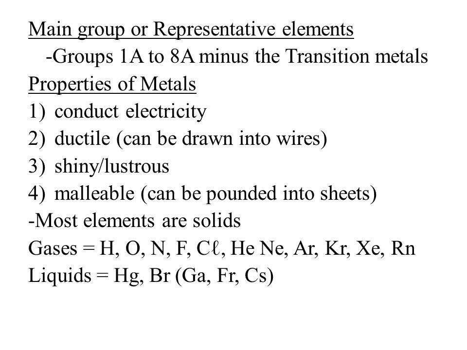Main group or Representative elements