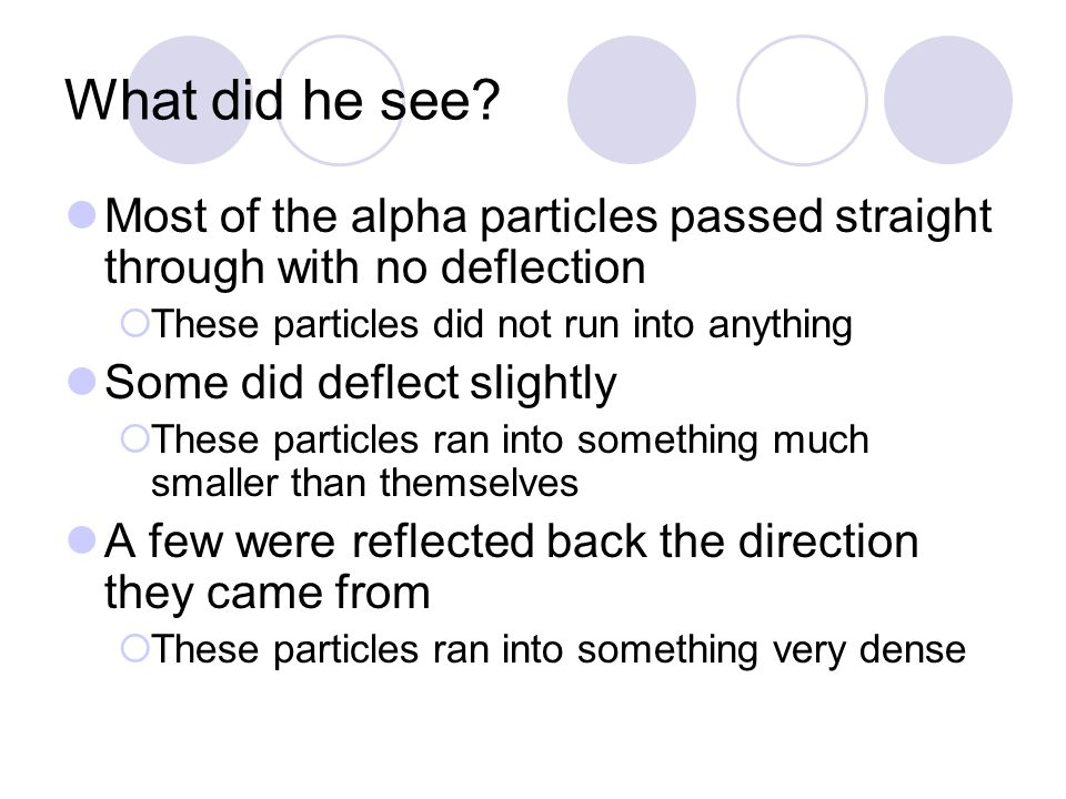 What did he see Most of the alpha particles passed straight through with no deflection. These particles did not run into anything.