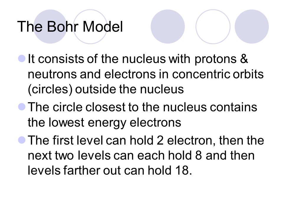 The Bohr Model It consists of the nucleus with protons & neutrons and electrons in concentric orbits (circles) outside the nucleus.