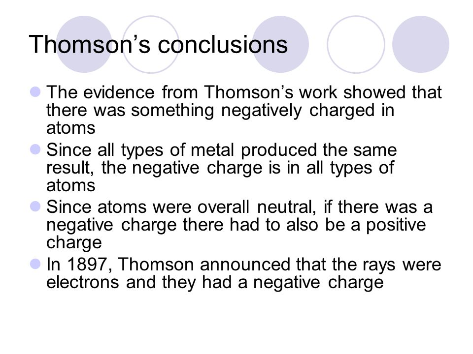 Thomson's conclusions