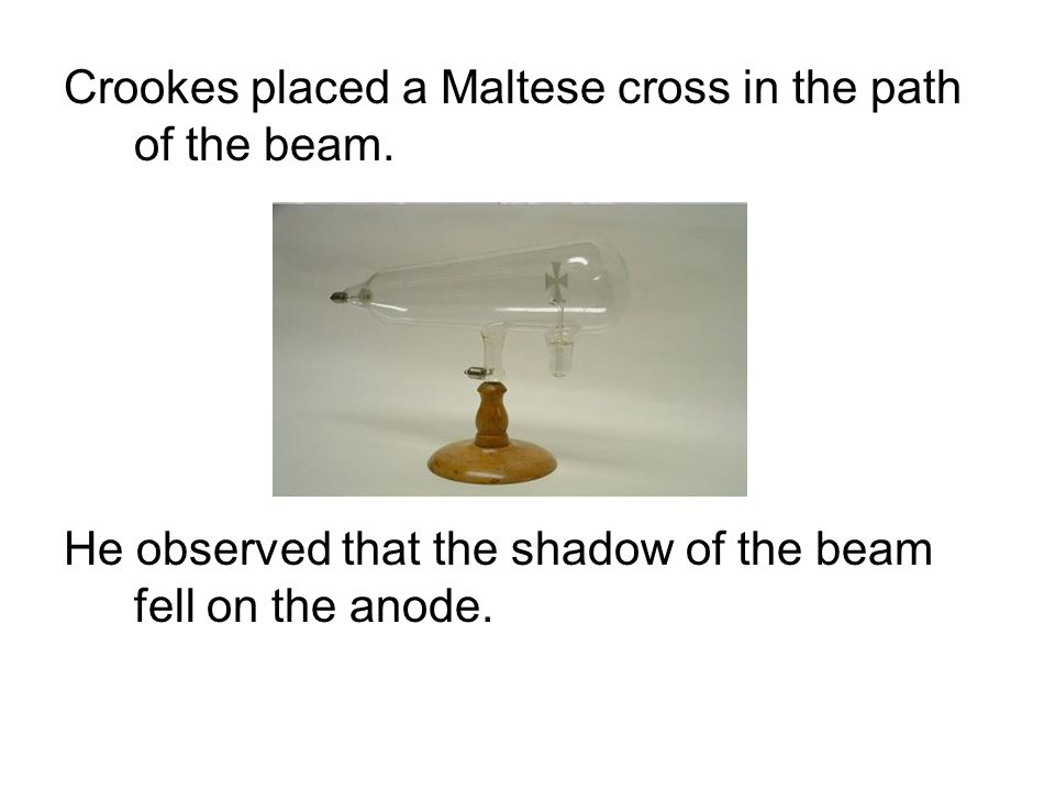 Crookes placed a Maltese cross in the path of the beam.